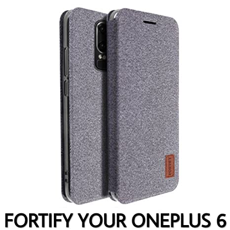 factory authentic 6cb2a d7846 FORTIFY Soft Fabric Flip Cover Case for OnePlus 6/One Plus 6 and All Kinds  of Tempered Glass (Grey)