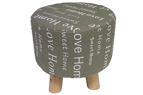 Russo tessuti sgabello con piedi in legno cotone grezzo stampa home