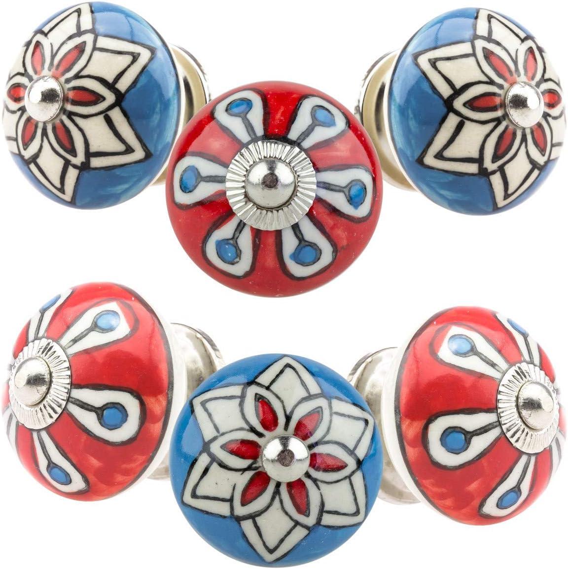 Jay Knopf 0100GN dise/ño vintage color azul y rojo Pomo para muebles 6 unidades, cer/ámica, pintado a mano