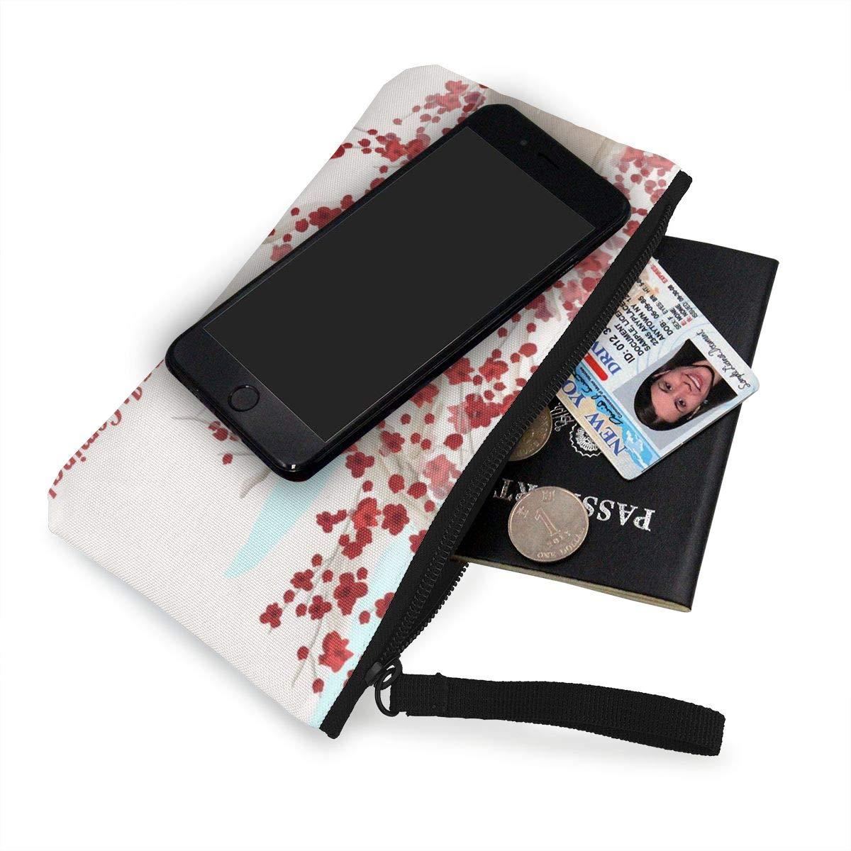 Sakura Spring Is Coming Zipper Canvas Coin Purse Wallet Make Up Bag,Cellphone Bag With Handle