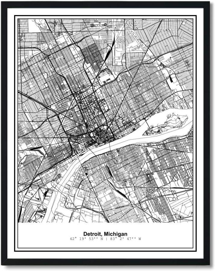 Susie Arts 11X14 Unframed Detroit Michigan Metropolitan City View Abstract Street Map Art Print Poster Wall Decor V227
