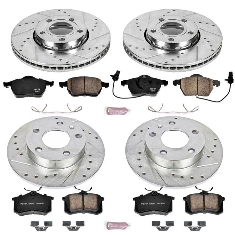 Power Stop K4196 Front /& Rear Brake Kit with Drilled//Slotted Brake Rotors and Z23 Evolution Ceramic Brake Pads