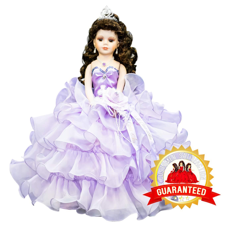 Kinnex Collections by Amanda 18'' Porcelain Quinceanera Umbrella Doll (Table Centerpiece) ~ Light Purple ~ KW18728-5