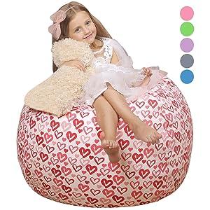 "WEKAPO Stuffed Animal Storage Bean Bag Chair Cover for Kids   Stuffable Zipper Beanbag for Organizing Children Plush Toys   38"" Extra Large Premium Cotton Canvas"