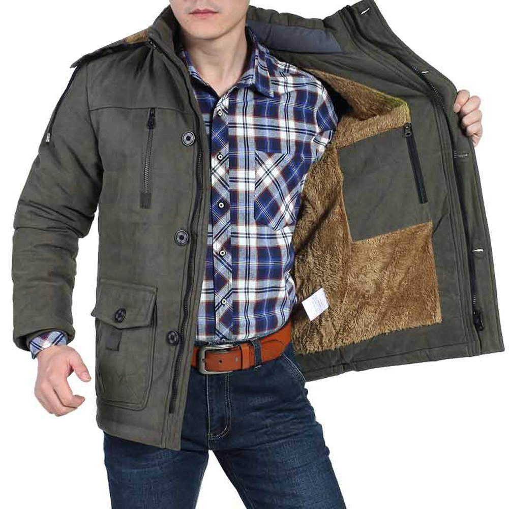 Zicac Men's Hooded Warm Coat Winter Parka Jacket Faux Fleece Lining