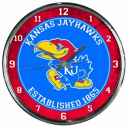 NCAA Kansas Jayhawks Chrome Clock, 12