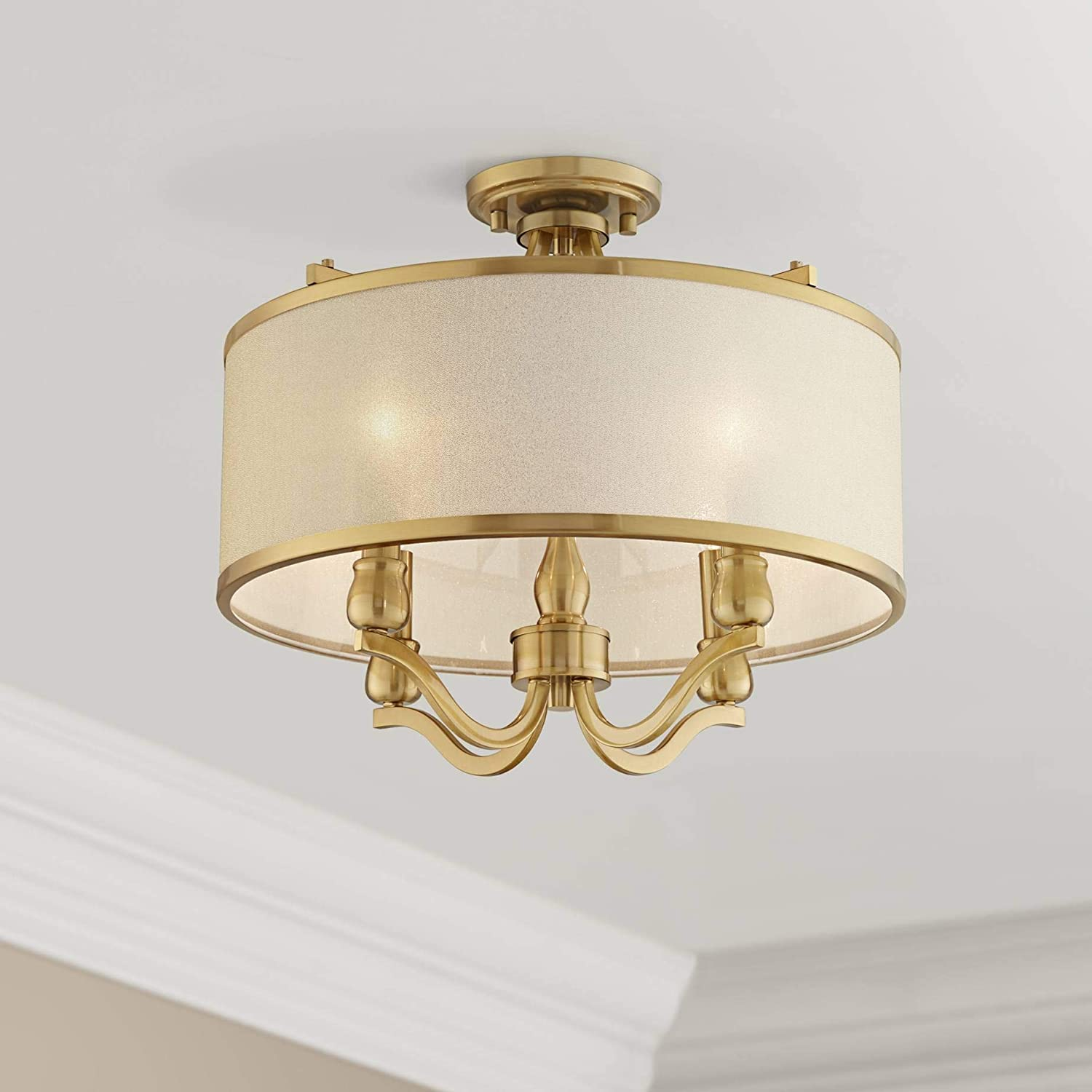 Nor Ceiling Light Semi Flush Mount Fixture Antique Brass 18 Wide 4-Light Gold Organza Shade for Bedroom Kitchen Living Room Hallway Bathroom – Possini Euro Design
