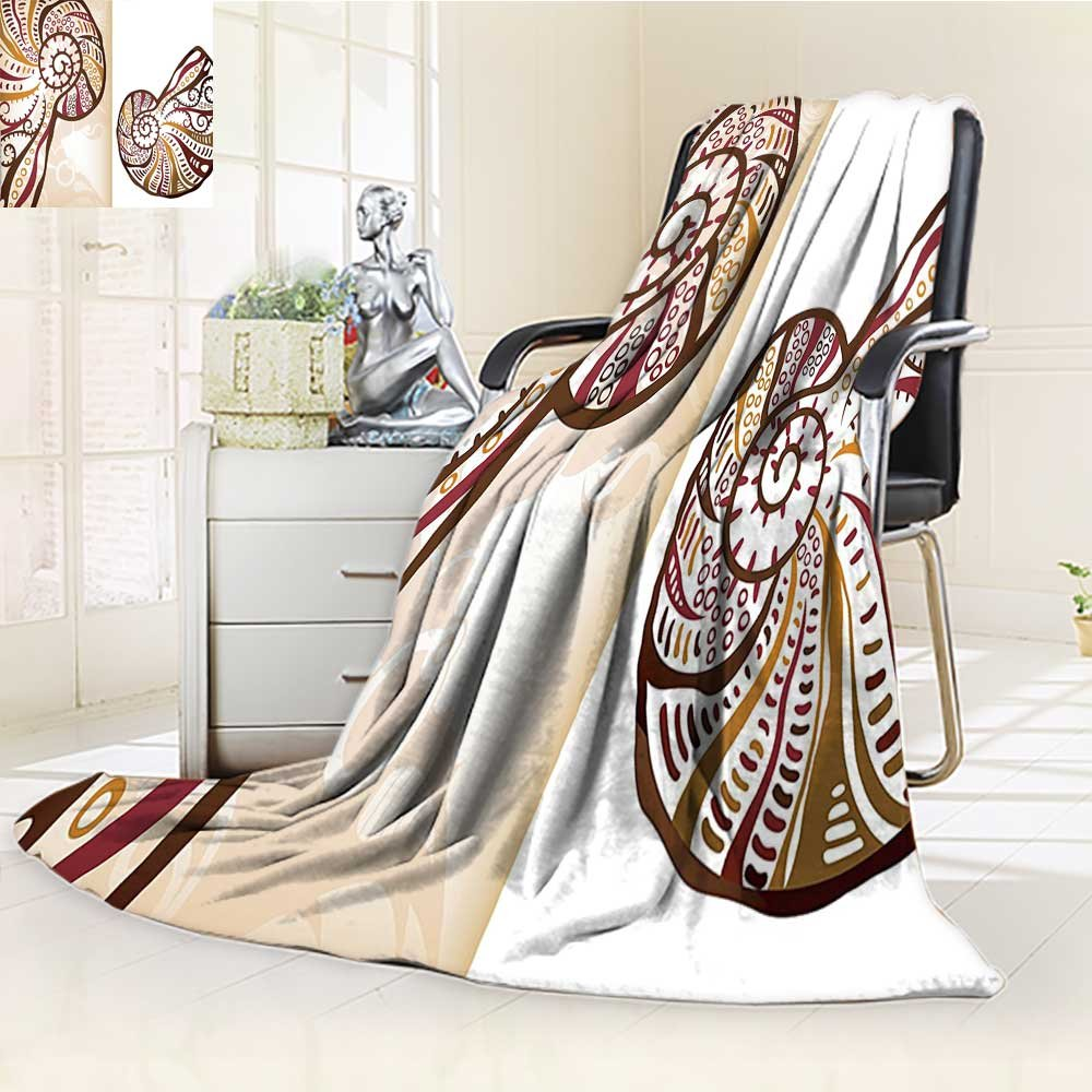 well-wreapped Custom Design Cozy Flannel Blanket Boho Divided Two Part Effects Hear The Creature Light Brown Cream Custom Design Cozy Flannel Blanket