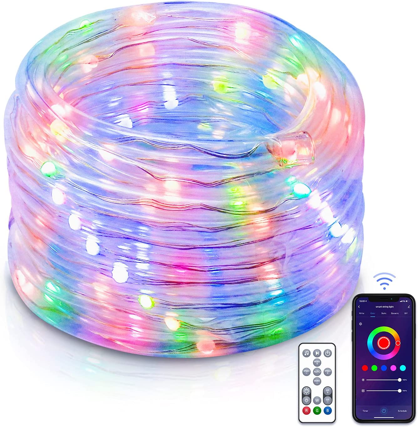 Smart WiFi Rope Lights, Peteme 33ft 100 Led RGB Color Changing Music Sync Outdoor Waterproof String Lights, Compatible with Alexa, Google Home, Voice Control Led Rope Lights