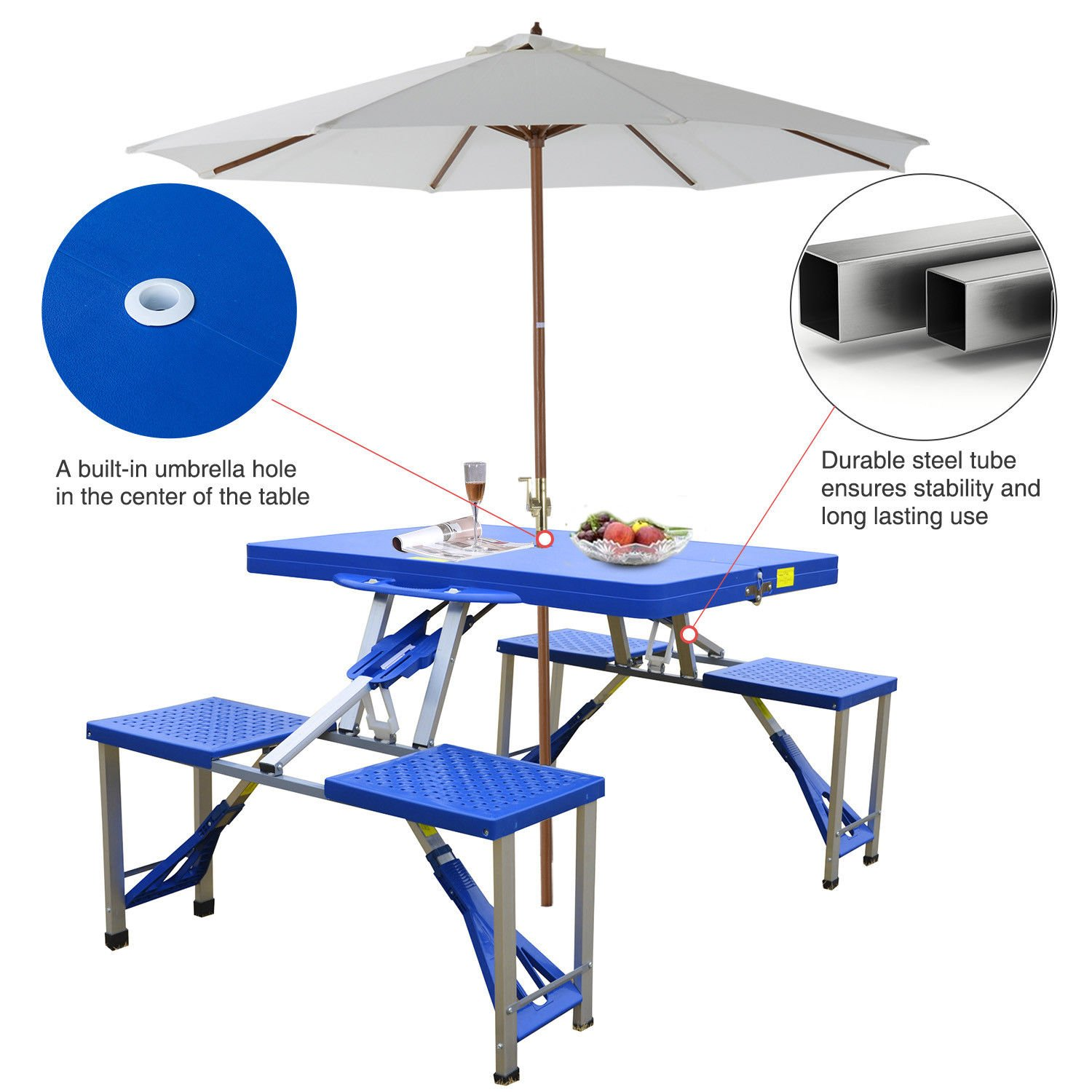 Ar Portable Folding Plastic Camping Picnic Table 4 Seats Outdoor Garden W/Case Blue by Ar (Image #2)