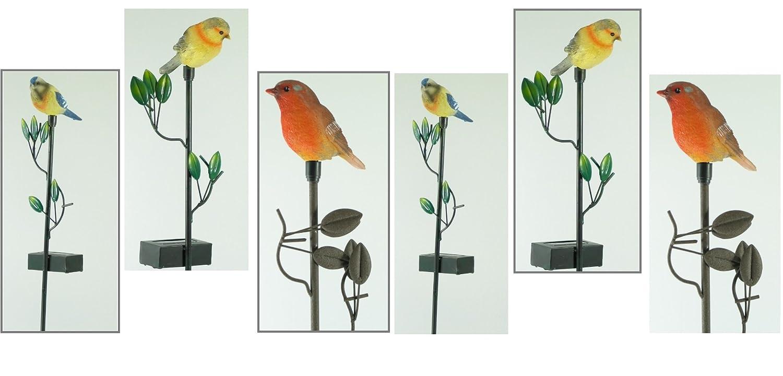 Solar-Gartendekoration Vogel im 6er Set bunte Gartenstecker LED Solarleuchten mit Erdspieß und Vogelfigur Solarstick