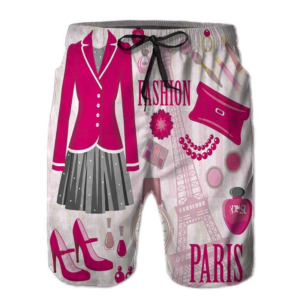 Mens Swim Trunks,Eiffel Tower in Paris Quick Dry Board Shorts