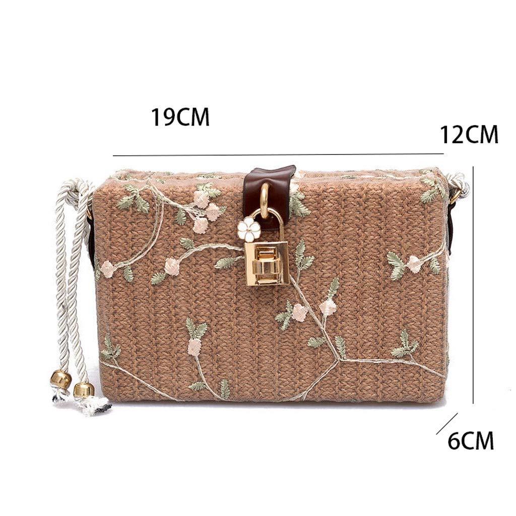 HLD axelremsväska, damväska, axelväska, vävt lås, liten fyrkantig väska, fashionabel, retro, strand, liten låda, diagonal väska, kurirväska C b