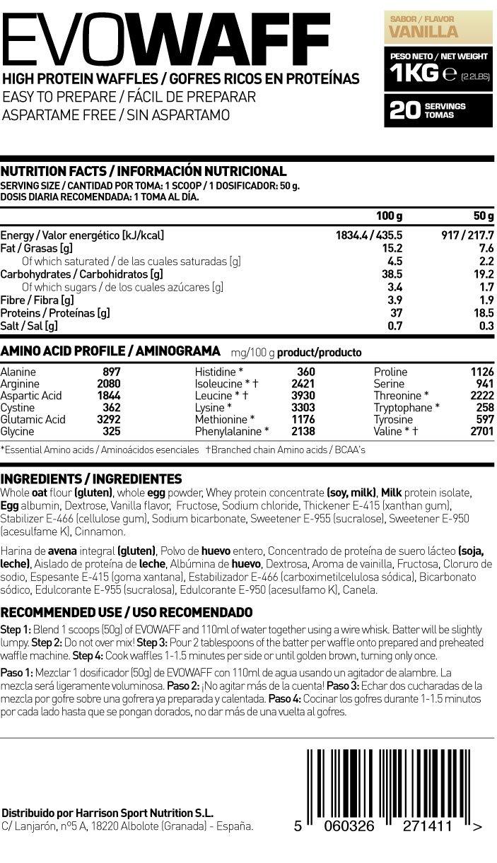 HSN Sports Evowaff Gofres Proteicos de Sabor Vainilla - 1000 gr: Amazon.es: Salud y cuidado personal
