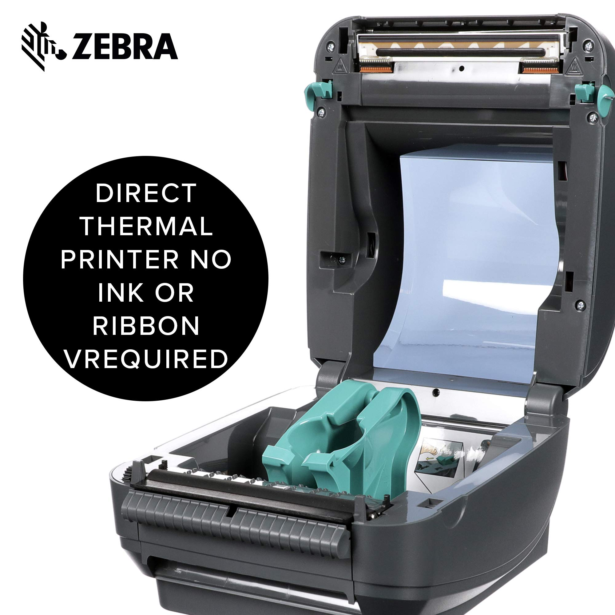 Zebra - GX420d Direct Thermal Desktop Printer for Labels, Receipts, Barcodes, Tags, and Wrist Bands - Print Width of 4 in - USB, Serial, and Parallel Port Connectivity (Includes Peeler) by ZebraNet (Image #4)