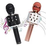 2 Pack Karaoke Microphone for Kids,Bluetooth Wireless Microphone with LED Lights,Portable Handheld Karaoke Mic Speaker Machin