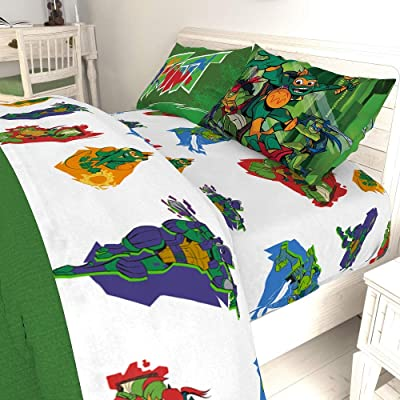 TMNT Full Reversible Comforter and 4 Piece Full Sheet Set: Home & Kitchen