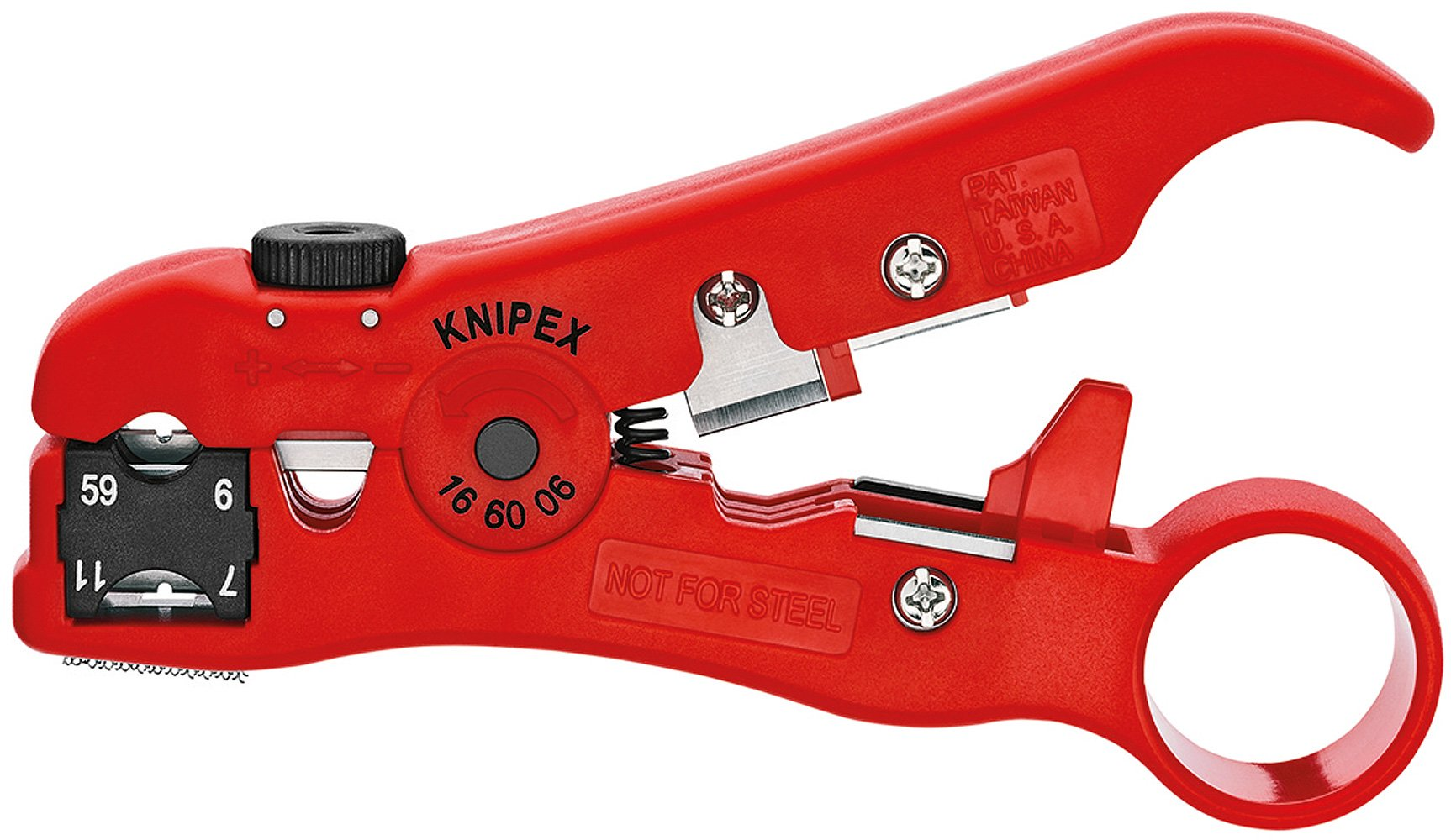 Knipex 16 60 06 SB Stripping Tool for coax cables and data cable 4,92'' in blister packaging