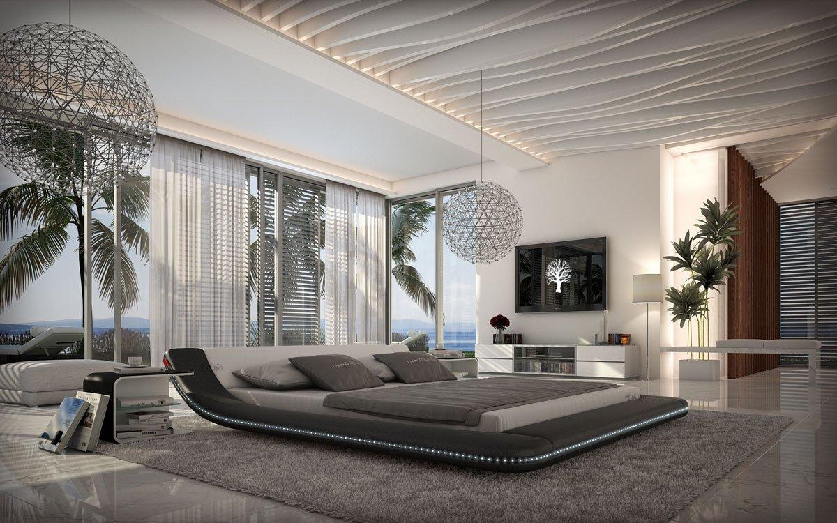 SAM® Polsterbett Custo LED in schwarz/weiß 160 x 200 cm abgerundetes modernes Design Beleuchtung vorhanden teilzerlegt Auslieferung durch Spedition