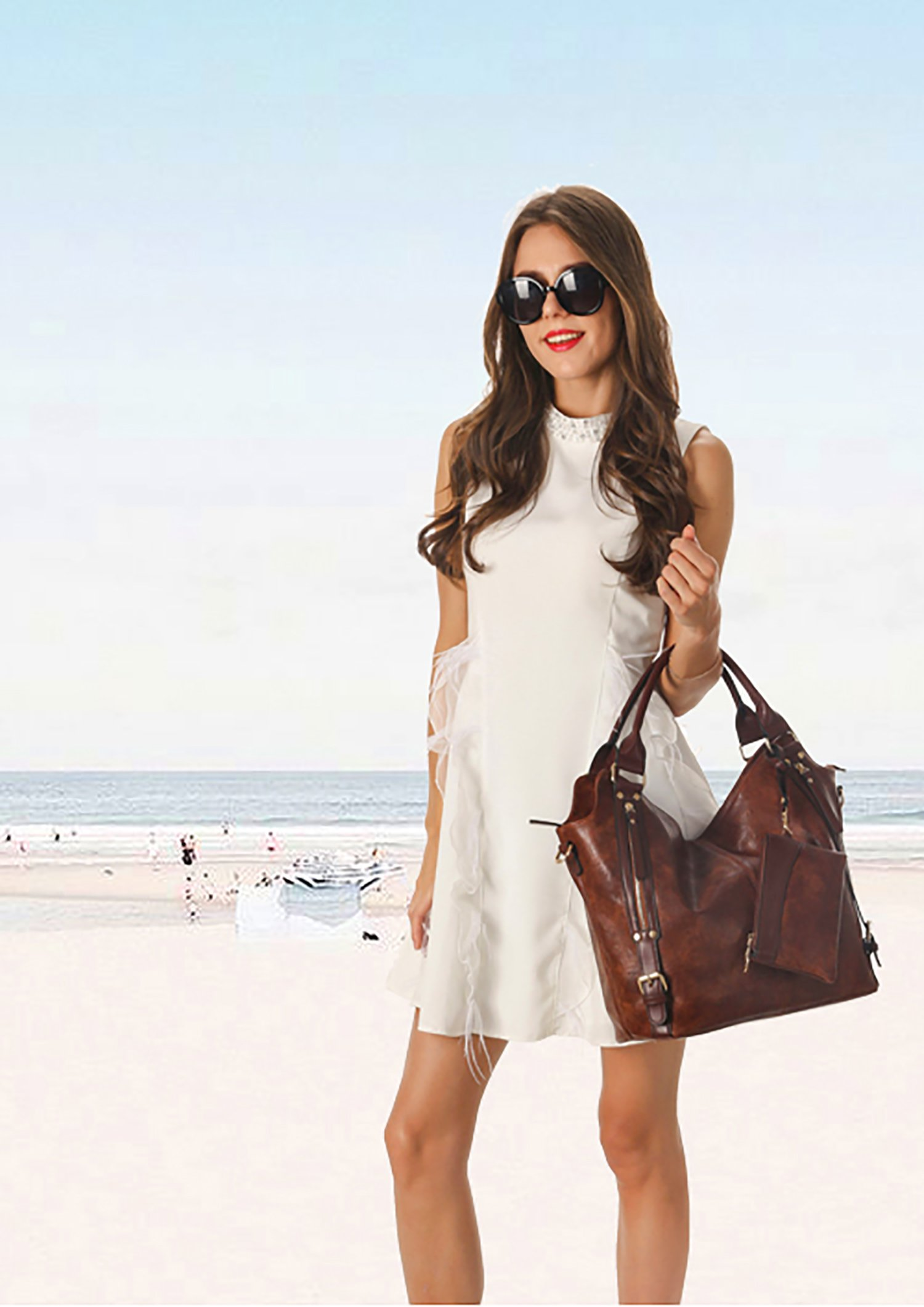 2018 HOT Women Tote Bag Handbags PU Leather Fashion Large Capacity Hobo Shoulder Bags with Adjustable Shoulder Strap by ITSCOSY (Image #5)