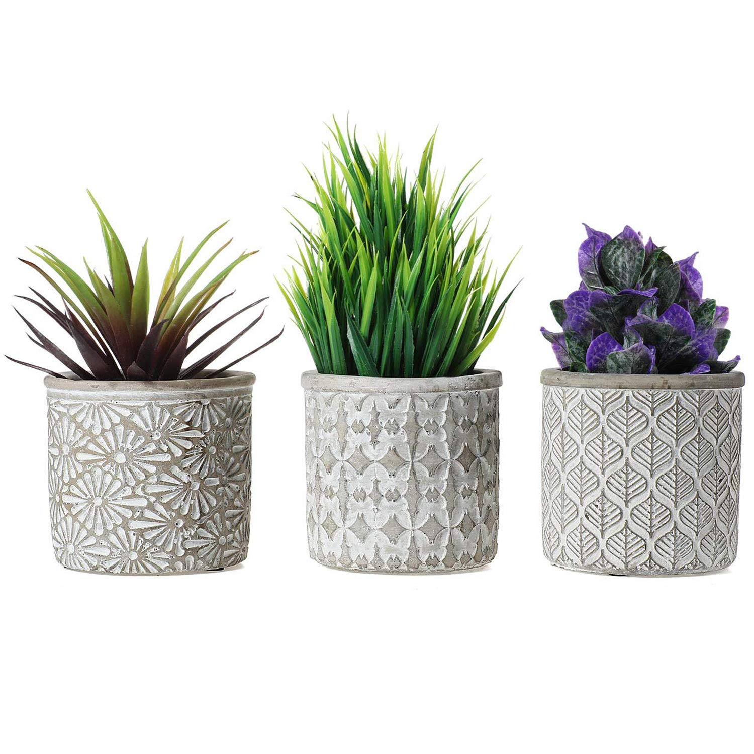 T4U 3.25 Inch Cement Pot Grey Set of 3, Small Concrete Succulent Round Planter Vase Plant Herb Cactus Container Window Box Holder for Home and Office Decor Birthday Wedding