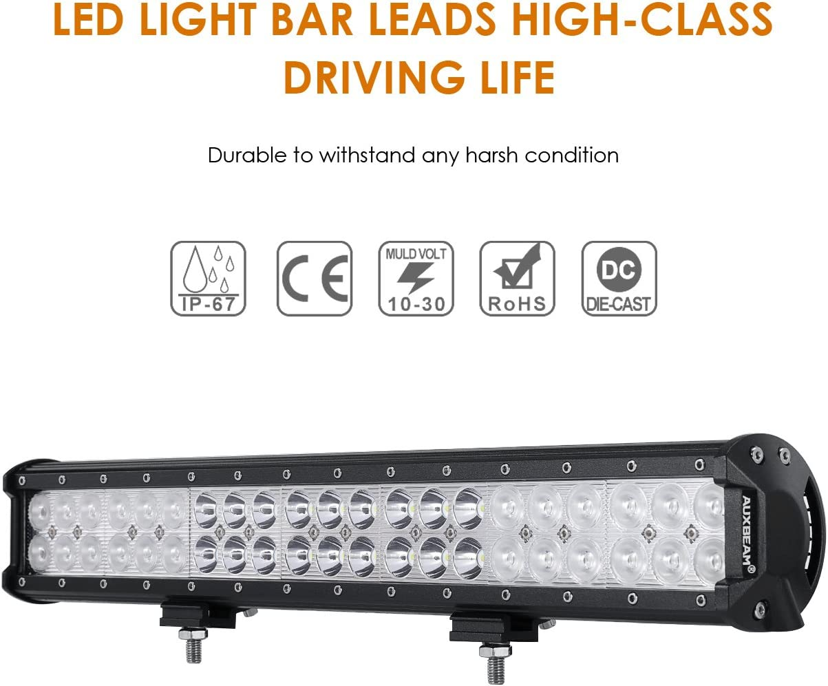 2 Years Warranty Nilight 23Inch 288W Triple Row Flood Spot Combo LED Light Bar Waterproof 28800LM Off Road Driving Lamp with Wiring Harness for Boat Trucks Pickup Jeep SUV ATV UTV