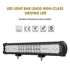 Auxbeam 20 Inch LED Light Bar 126W LED Bar with 42pcs 3W Led Off Road Driving Lights Spot Flood Combo Beam for Jeep Driving Off Road ATV SUV UTV