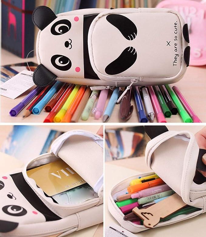 Estuche para lápices de maquillaje, bonito Kawaii 3D, diseño de panda: Amazon.es: Oficina y papelería