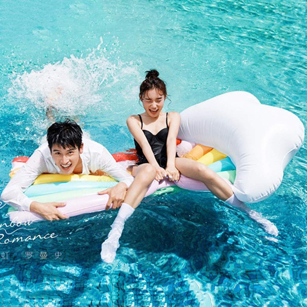 Selm Inflatable Floating Row Rainbow Water Floating Row PVC Lounge Chair Swim Ring Water Toy Beach Mat for Adult and Kids by Selm (Image #5)