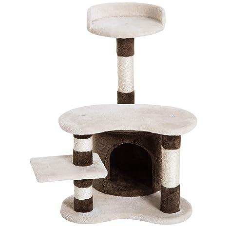 PawHut Árbol para Gatos Juguete Rascador con Caseta Plataformas Centro de Juego para Arañar Jugar Dormir