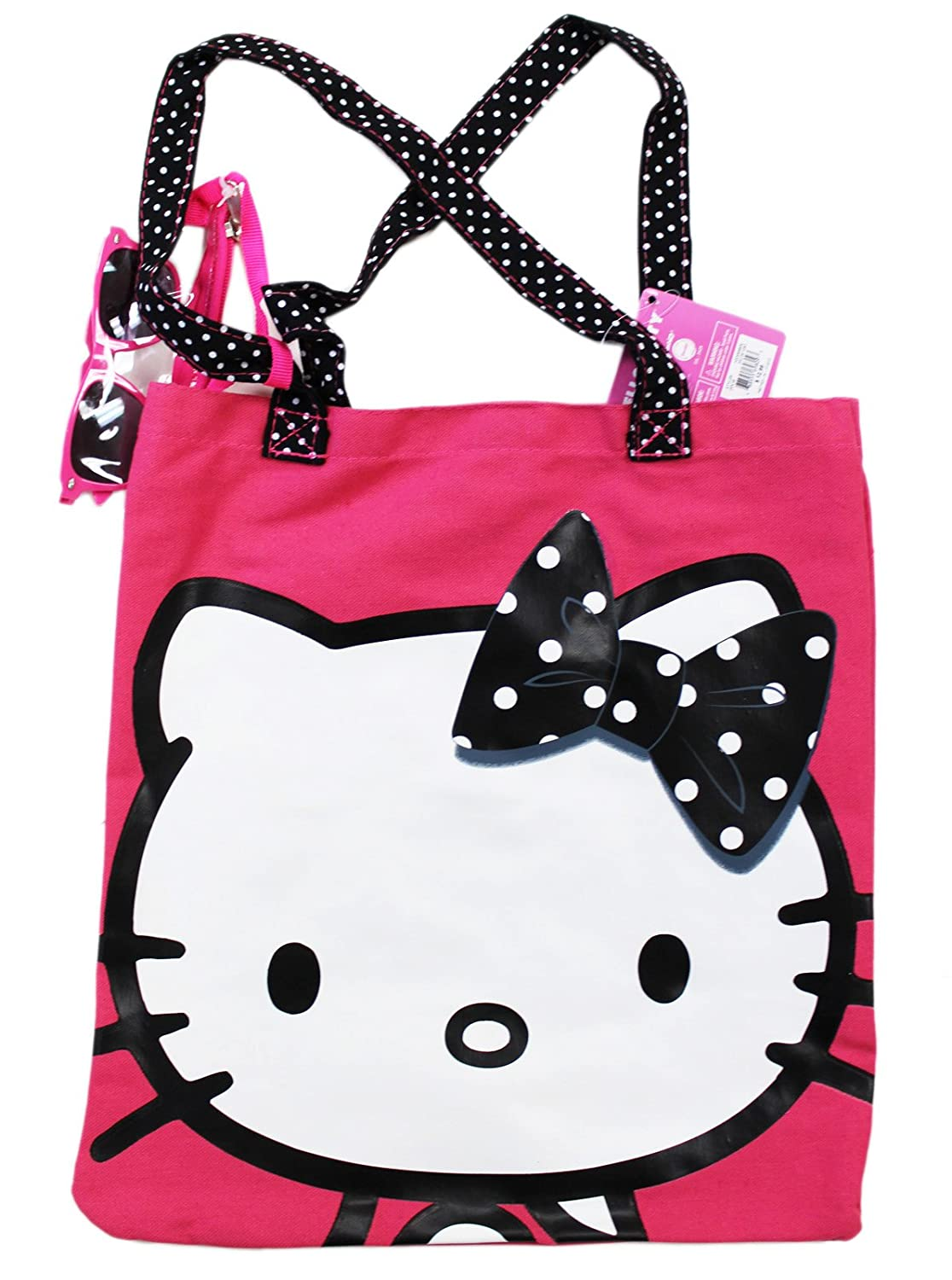 4dc90acca Amazon.com: Hello Kitty w/Black Polka Dotted Bow Pink Colored Tote Bag:  Clothing