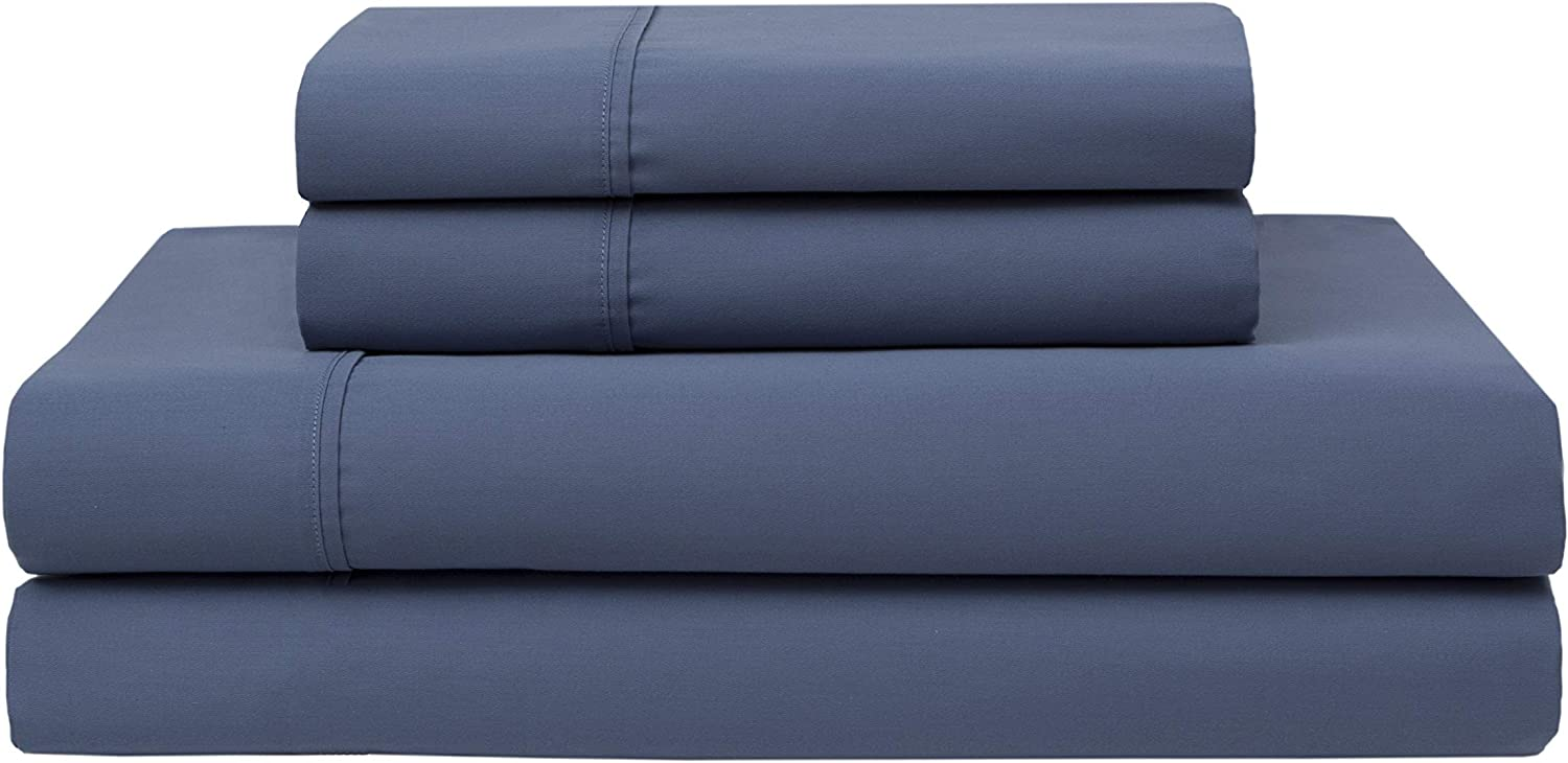 Elite Home Products Inc Wrinkle Free 420 Thread Count Cotton Sheet Set, Denim, King
