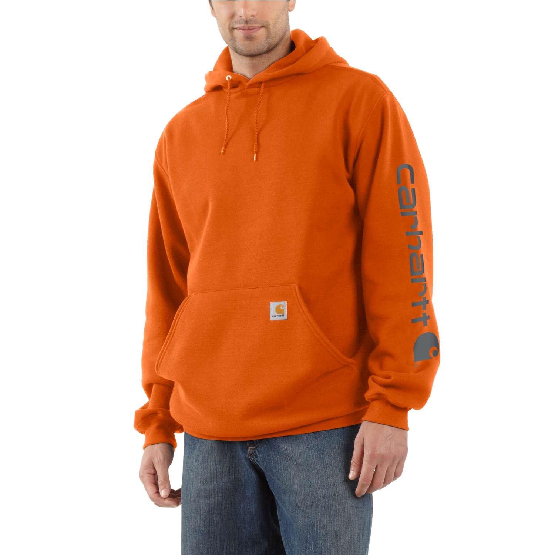 Carhartt Men's Signature Sleeve Logo Hooded Sweatshirt Hooded MED Heather Gray