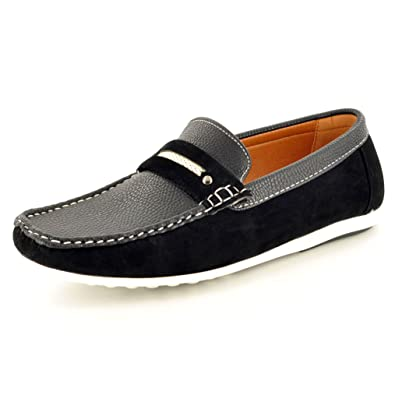 03b6f21211b Mens Black Leather look Casual Loafers Slip on Moccasins   Driving Shoes (  Size 6)