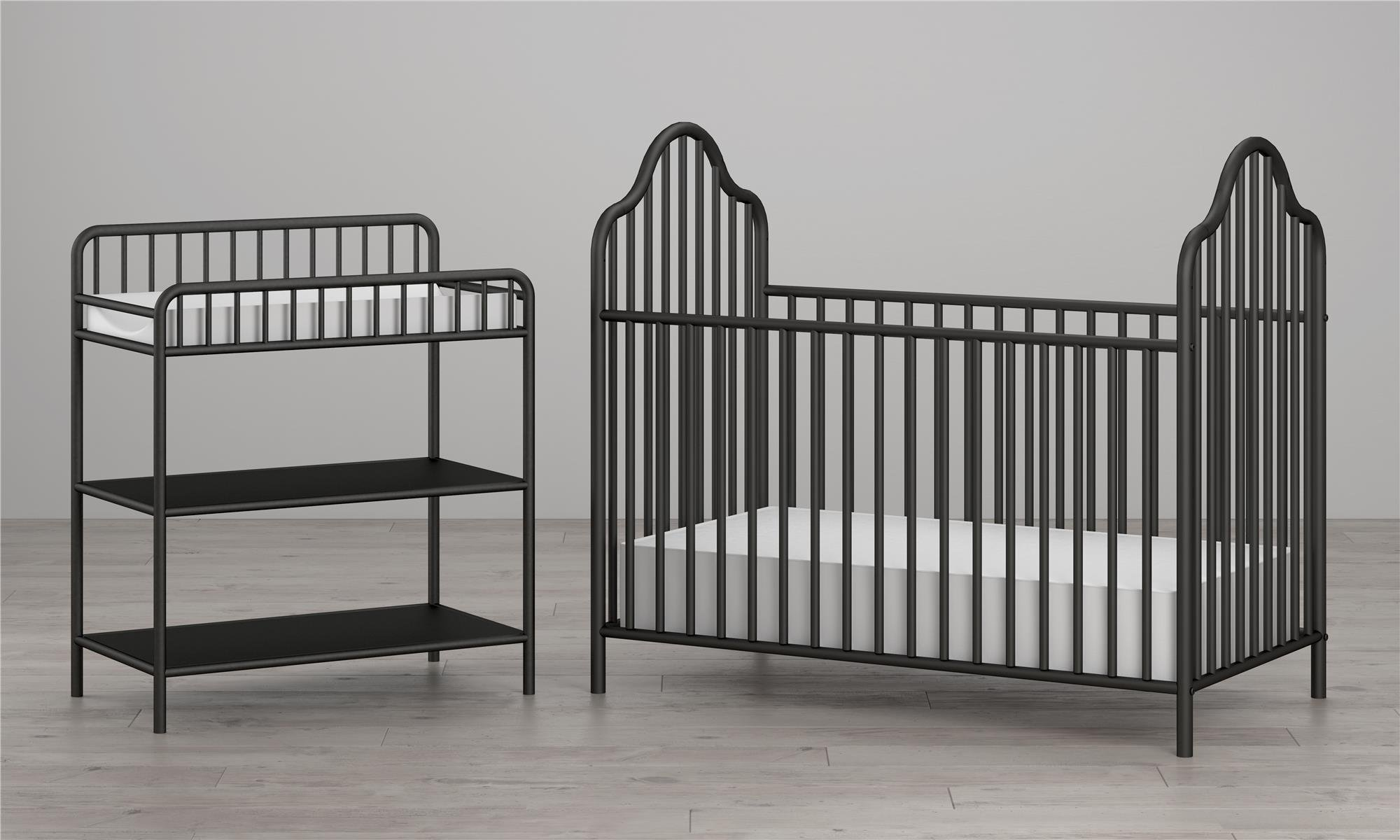 Little Seeds Rowan Valley Lanley Metal Crib and Changing Table Set, Black by Little Seeds