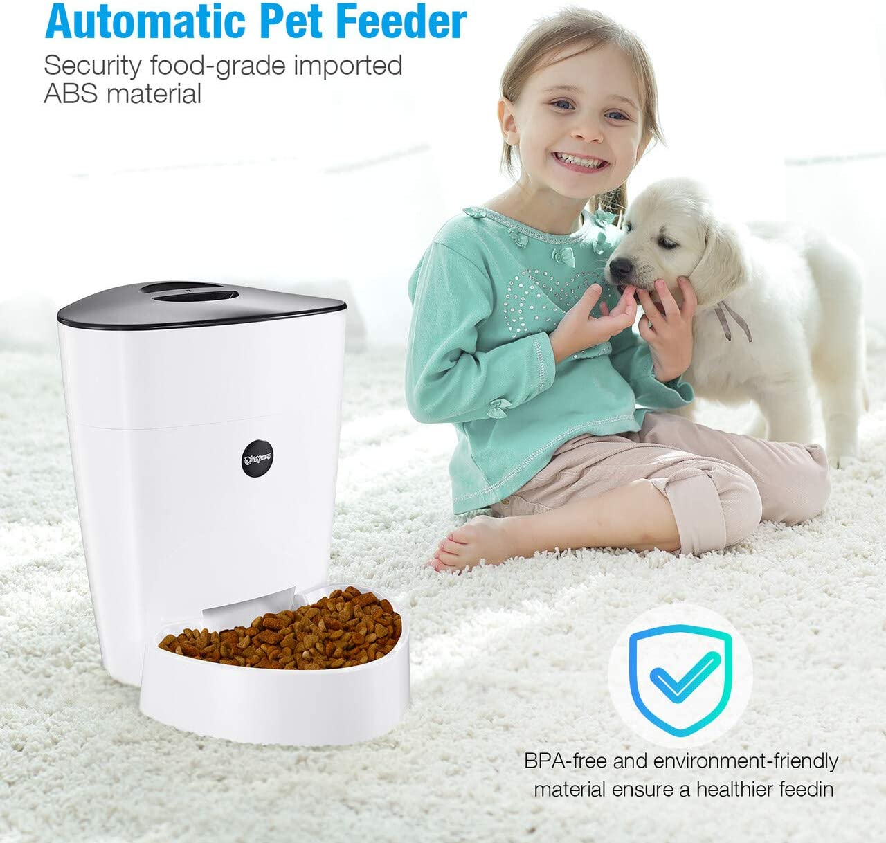 Pet Supplies : isYoung Automatic Cat Feeder, 4L Smart Pet Feeder for Cat & Dog - 6 Meal, LCD Display with Timer Programmable, Portion Control - Battery/Plug-in Power :