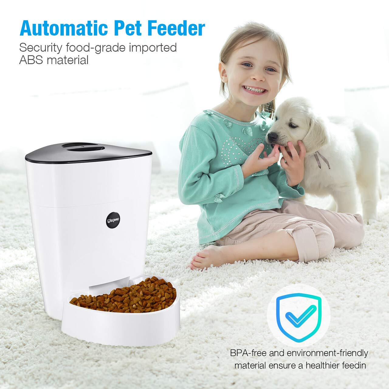 isYoung Automatic Cat Feeder, 4L Smart Pet Feeder for Cat & Dog - 6 Meal, LCD Display with Timer Programmable, Portion Control - Battery/Plug-in Power