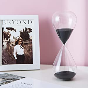 Gorgeous Home Glass Timer 15 Minutes Sandglass Timer Decorative Hourglass Sand Clock Timer for Game Home Office Desk Classroom (Black)