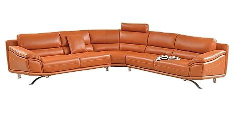 Amazon.com: Moderno sofá seccional en color naranja piel ...