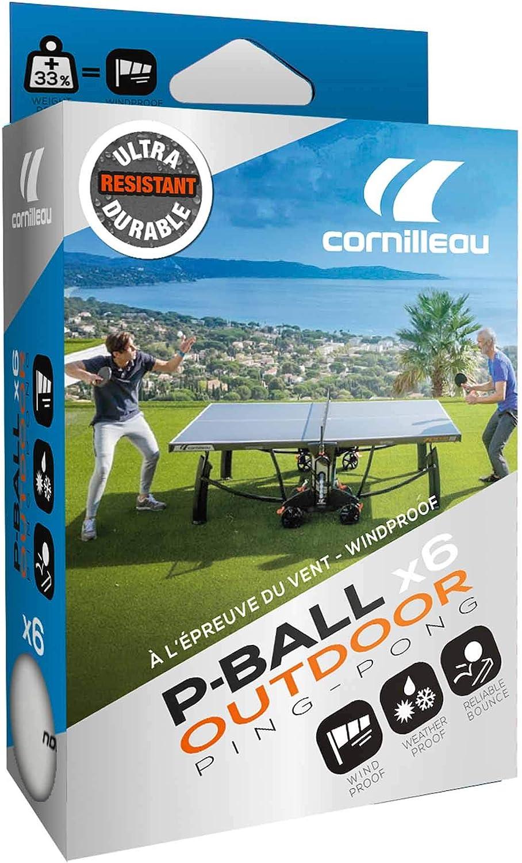 Cornilleau Outdoor Ultradurable Pelotas de Tenis de Mesa, Unisex Adulto, Blanco, Talla única