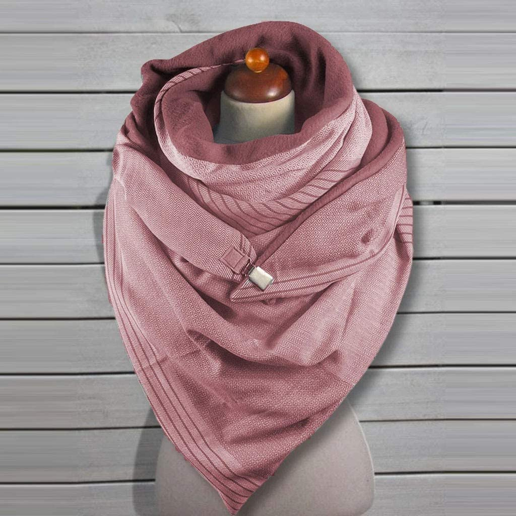 Binggong Damen Schal mit Knopf Baumwolle Warme Winterschal Lieblingsschal Frauen Einfarbig Elegant Soft Wrap Dreieckschal Halstuch Scarf Poncho