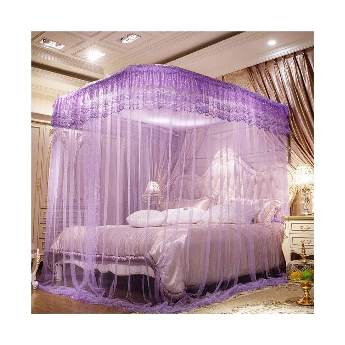 方朝日スポーツ用品店 モスキートネット3ドアモスキートネットステンレススチールベッドタイプ宮殿の蚊帳メタルジッパー寝室用 (色 : 紫の, サイズ : 150*200CM) B07SMPHVYL 紫の 150*200CM