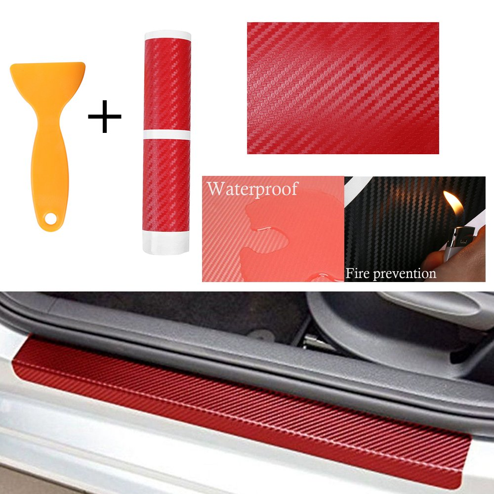 Autumn Water 4pcs Universal Red 3D Carbon Fiber Look Car Door Plate Sill Scuff Cover Protector Anti-Scratch Practical Auto Waterproof Sticker
