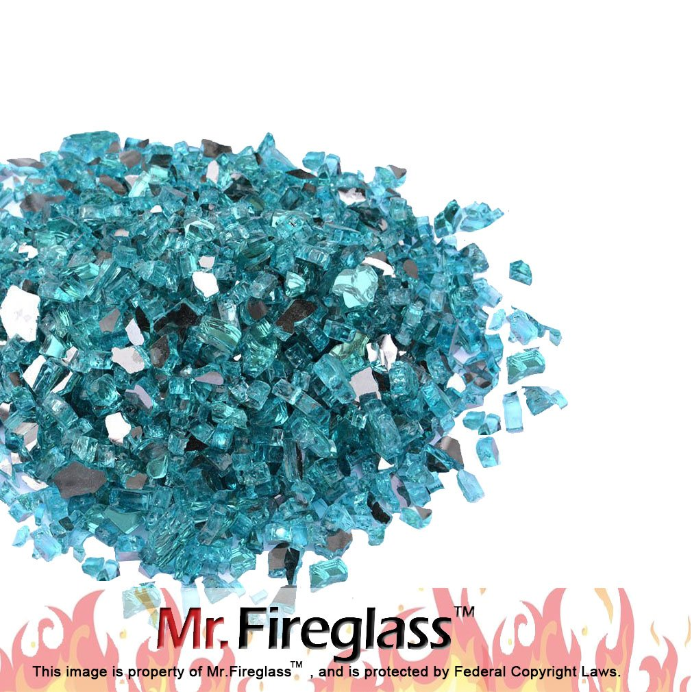 "Mr. Fireglass 1/4"" Reflective Fire Glass with Fireplace and Fire Pit, 10 lb, Caribbean Blue"