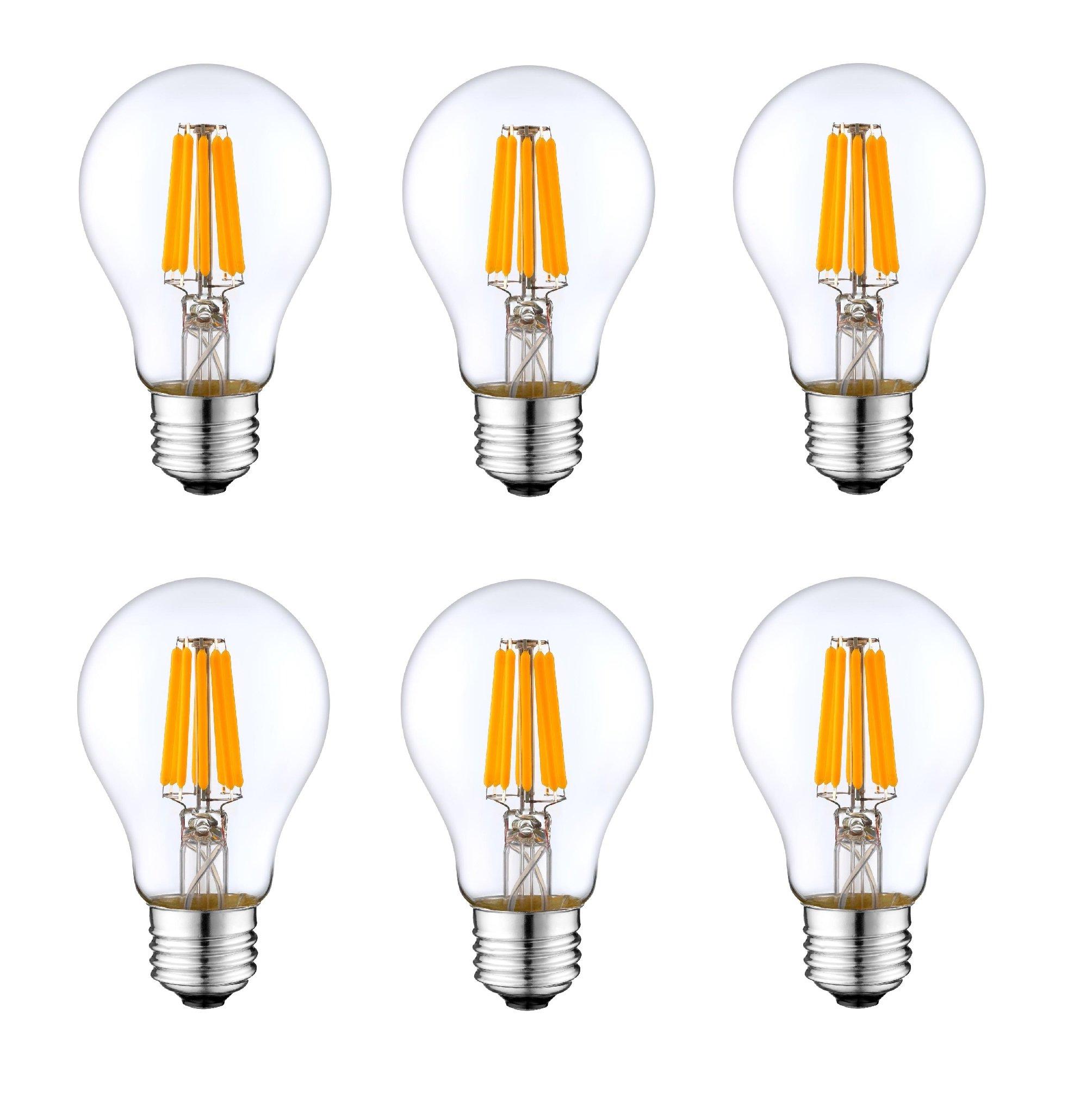 12V E26 Light Bulb A19 PURE WHITE 6000k 4W LED Edison 12 Volt Classic Medium Base Lamp Low Voltage Battery System RV Marine Boat Solar Train Retro Landscaping Van Industrial DC Grid Lighting - 6 Pack