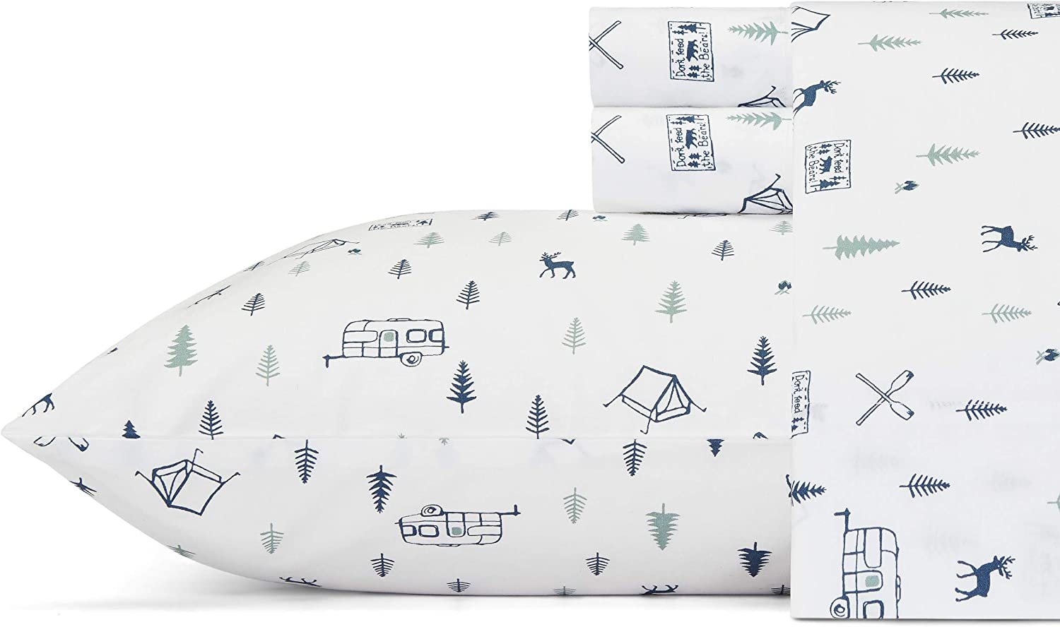 Eddie Bauer Home   Percale Collection Sheet Set-100% Cotton, Crisp & Cool, Lightweight & Moisture-Wicking Bedding, Twin XL, Campout