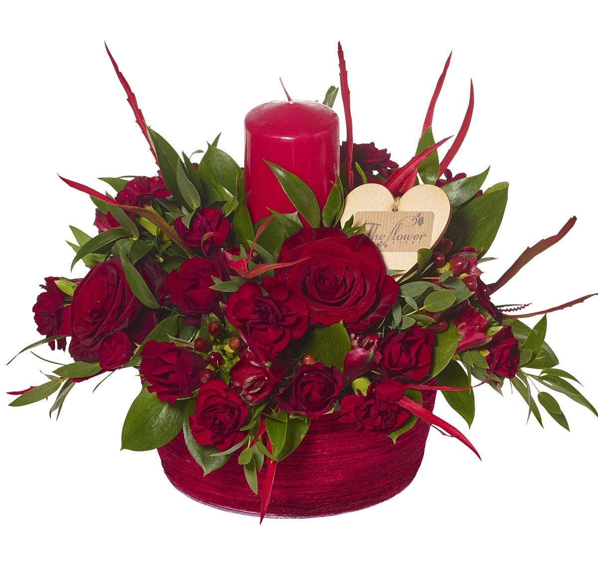 The Flower Rooms - Romantic Reds Candle Arrangement Sorry Flowers Love You and Anniversary Bouquets - Extra Large
