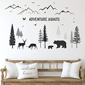 Tenare 3 Sheets Nursery Wall Decals Dreamy Forest with Pine Tree Animal Deer and Mountain Decals Inspirational Quote Wall Stickers DIY Wall Decals for Kids' Room Living Room Bedroom Decorations