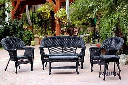 Groovy Amazon Com 5 Piece Black Resin Wicker Patio Chair Machost Co Dining Chair Design Ideas Machostcouk