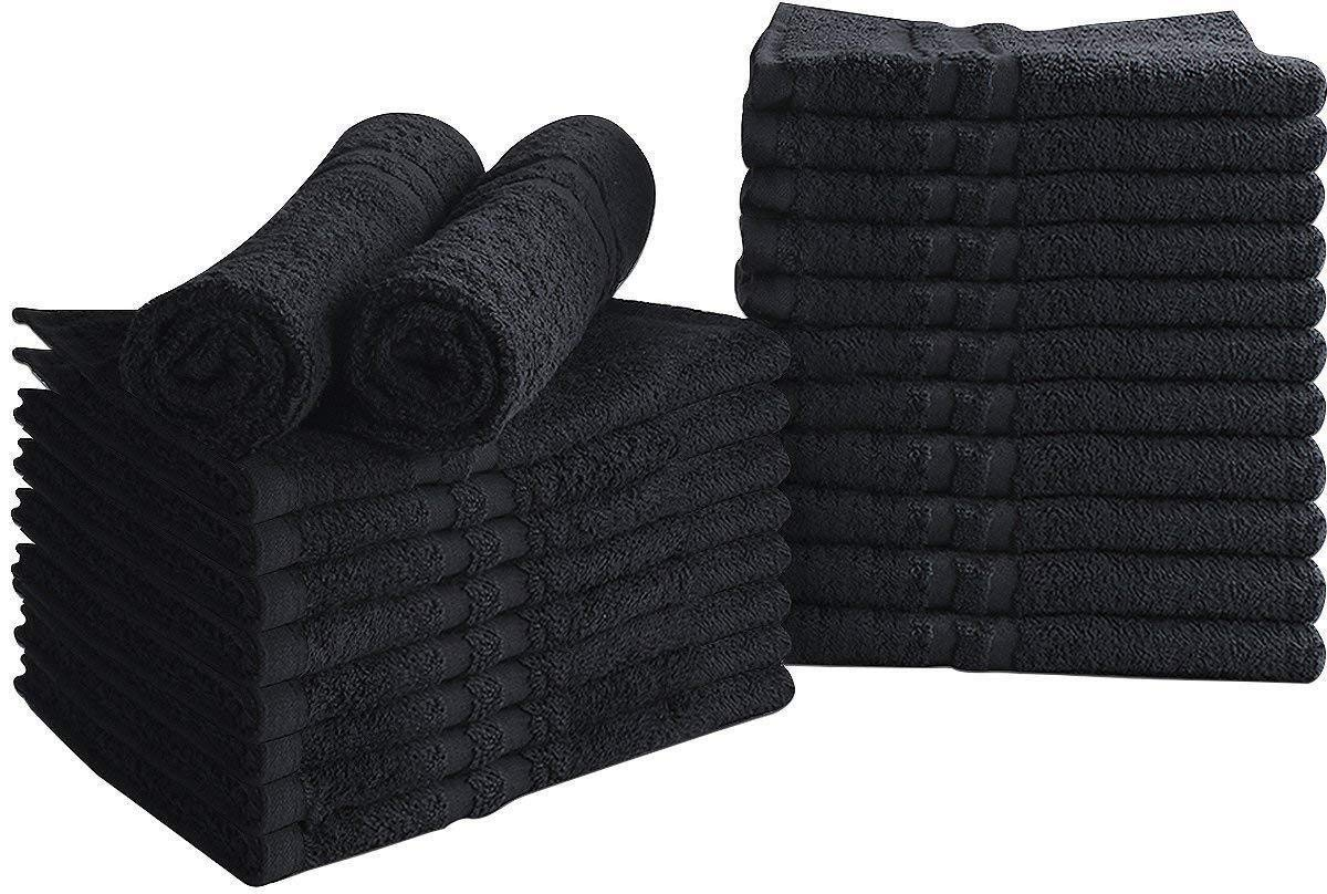 Black 24 Pack Salon Towels Gym Cotton Bleach Proof 16 x 27 Inches Home Cleaning Equipment